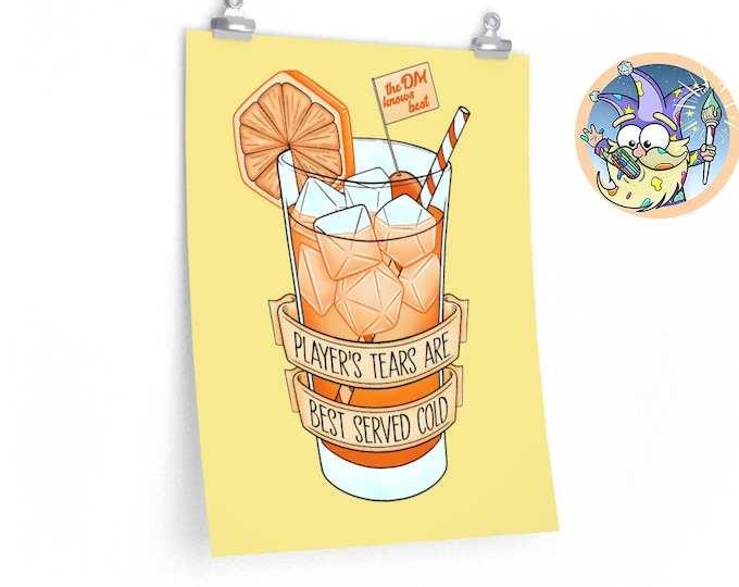Ice cold player's tears poster | DM gift | Dnd gift | GM | Dungeons & Dragons | Dice | Natural 20