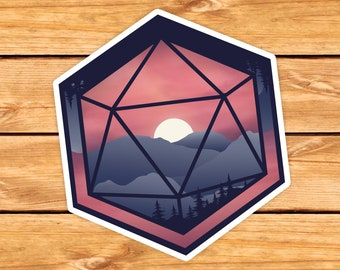 Mountain D20 Sticker | DnD gift | Dice | Critical failure | Dungeons & Dragons