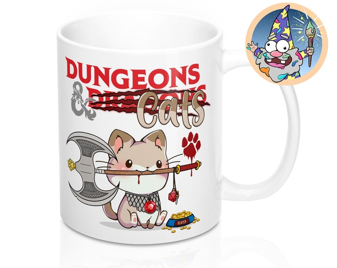 Dungeons and Cats Mug | Dnd gift | GM | Dungeons & Dragons | Dice | DM gift