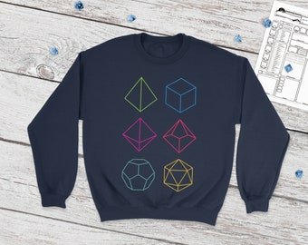 Minimal DnD sweatshirt | Dice | DnD | Gifts for dnd | Dungeon master (dm) gifts | Geeky dnd shirt