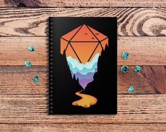 Rainbow d20 spiralbook | Minimal dnd | Dnd gift | GM | Dungeons & Dragons | Dice | Natural 20