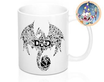 Mosaic dragon Mug | Dnd gift | GM | Dungeons & Dragons | Dice | DM gift