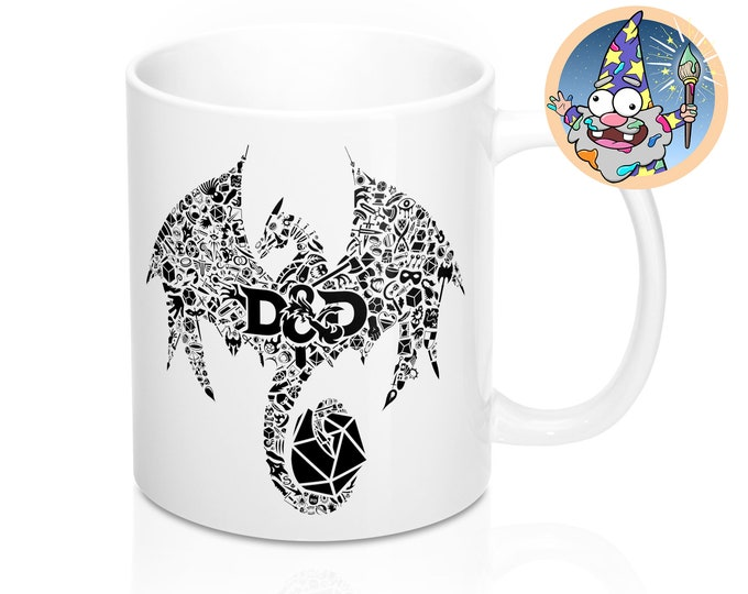 Mosaic dragon Mug | Dnd gift | GM | Dungeons & Dragons | Dice | DM gift