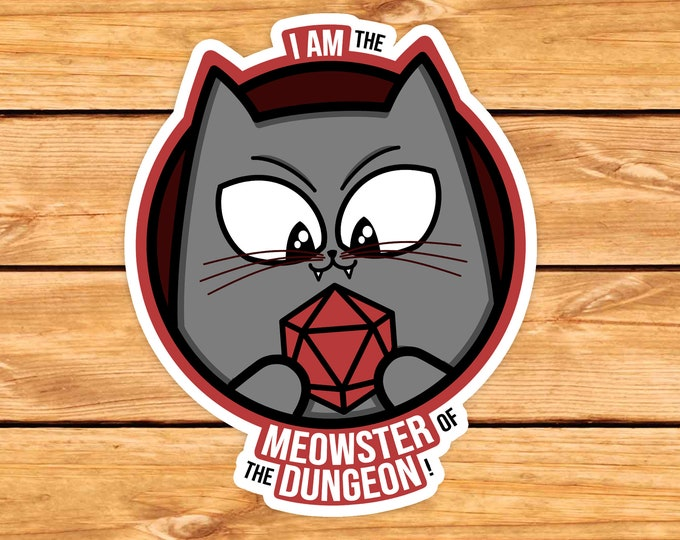 Meowster of the Dungeon sticker | DM | Dungeons Dragons | Gifts for dm | Dungeon master (dm) gifts | DnD