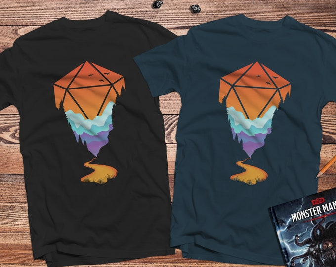 Golden D20 D&D Shirt | DnD | Dungeons Dragons | Gifts for dm | Dungeon master (dm) gifts | minimal dnd shirt