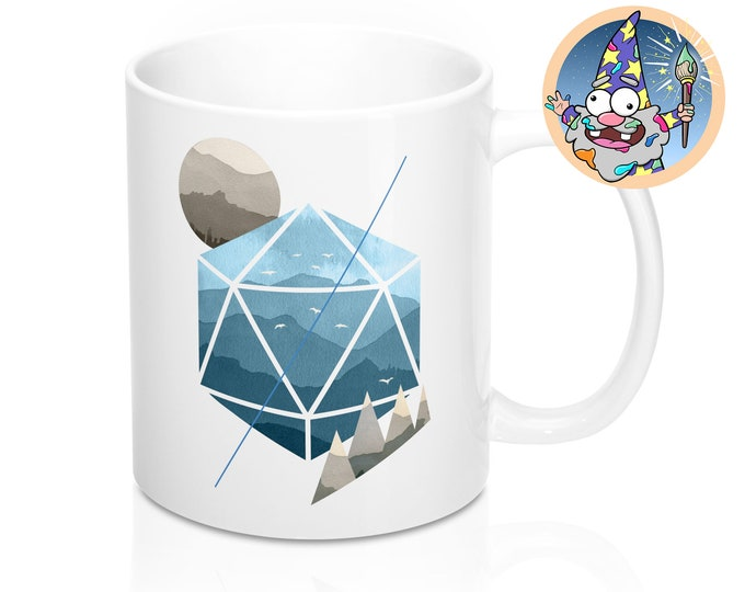 Watercolor D20 Mug | Dnd gift | GM | Dungeons & Dragons | Dice | DM gift