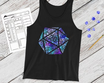 Colorful Mosaic D20 tank | adventure | Dnd gift | GM | Dungeons & Dragons | Dice | Natural 20
