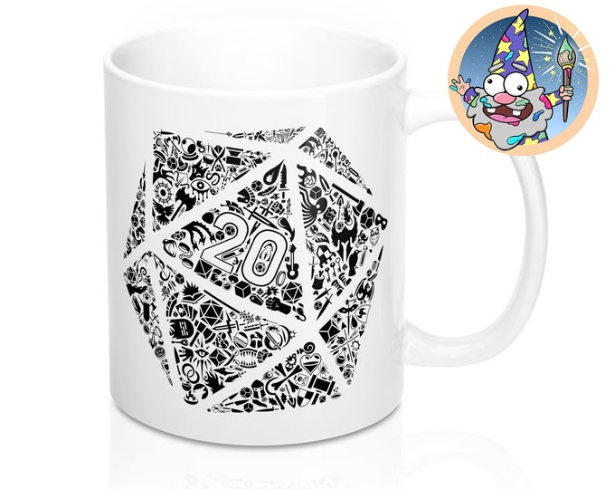 Mosaic D20 Mug | Dnd gift | GM | Dungeons & Dragons | Dice | DM gift