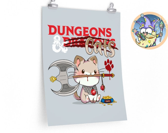 Dungeons and Cats poster | Dnd pets | Dnd gift | Dungeons and Dragons present | rpg | dice | d20