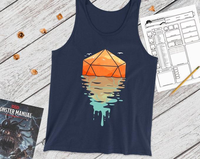 A d20 Sunset tank | minimal DND | DnD | Gifts for dnd | Dungeon master (dm) gifts | Geeky dnd shirt