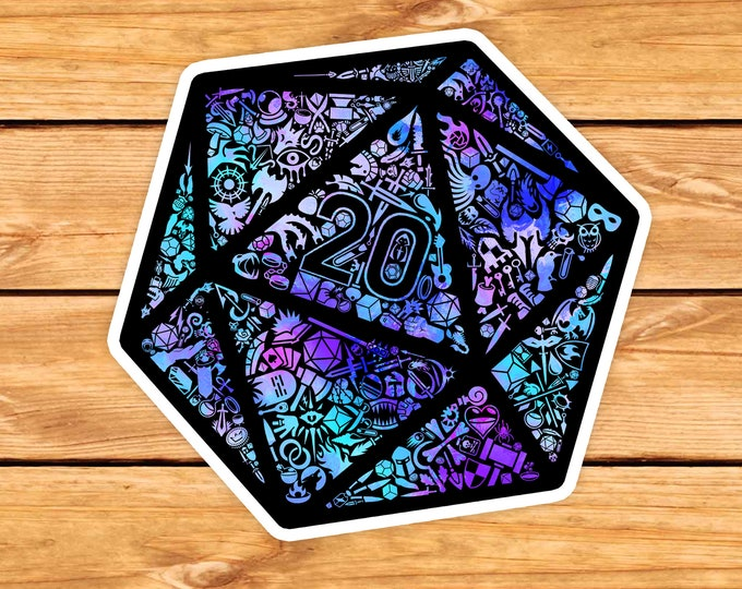 Colorful Mosaic D20 sticker | adventure | Dungeons Dragons | Gifts for dm | Dungeon master (dm) gifts | DnD