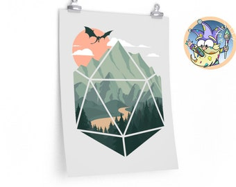 A D20 Scene poster | Dnd gift | Dungeons and Dragons present | rpg | dice | d20