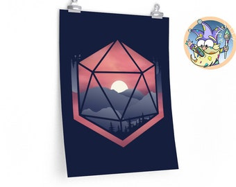 Mountain d20 poster | DnD minimalistic | Dnd gift | GM | Dungeons & Dragons | Dice | Natural 20