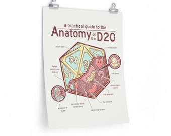 Anatomy of the D20 poster | Dungeons & Dragons  | Gifts for geeks | Dungeon master (dm) gifts | Geeky dnd shirt