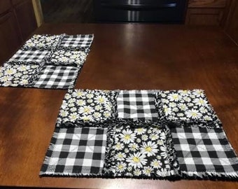 Country Primitive Set of 2 Rag Quilt Country Farmhouse PlacematsTable Mats Americana #1 Best Selling Item Country Cottage