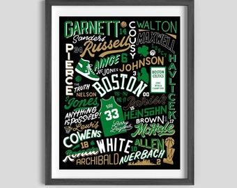 Boston Celtics Legends Poster, Celtics Art, Celtics Gift, Boston Art, celtics gift for dad
