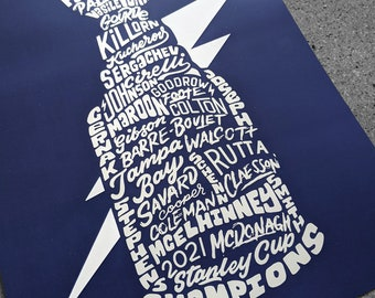 Tampa Bay Lightning 2021 Inspired Stanley Cup Championship Silver Foil or Holographic Poster Art, Lightning Art, Lightning Poster