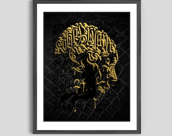 Kobe Bryant Calligraphy Gold Foil Poster, Black Mamba Art, Kobe Art, Kobe Poster, Kobe Bryant Art, Lakers Poster