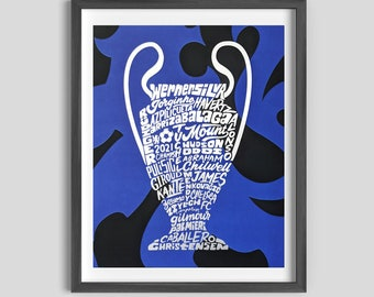 Chelsea FC Champions League Silver Foil Poster Art, Chelsea Art, Chelsea Gift, Chelsea Champions, Chelsea Gift for dad