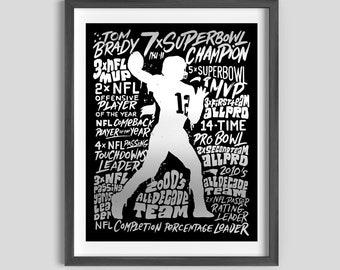 Tom Brady Silver Foil Poster, Tom Brady Superbowl Art, Tom Brady Gift, Tom Brady Patriots, Tom Brady Buccaneers, Brady Art