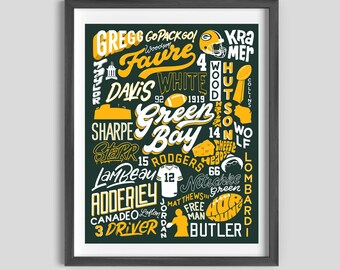 Green Bay Packers Legends Poster, Packers Art, Packers Gift, Green Bay Art