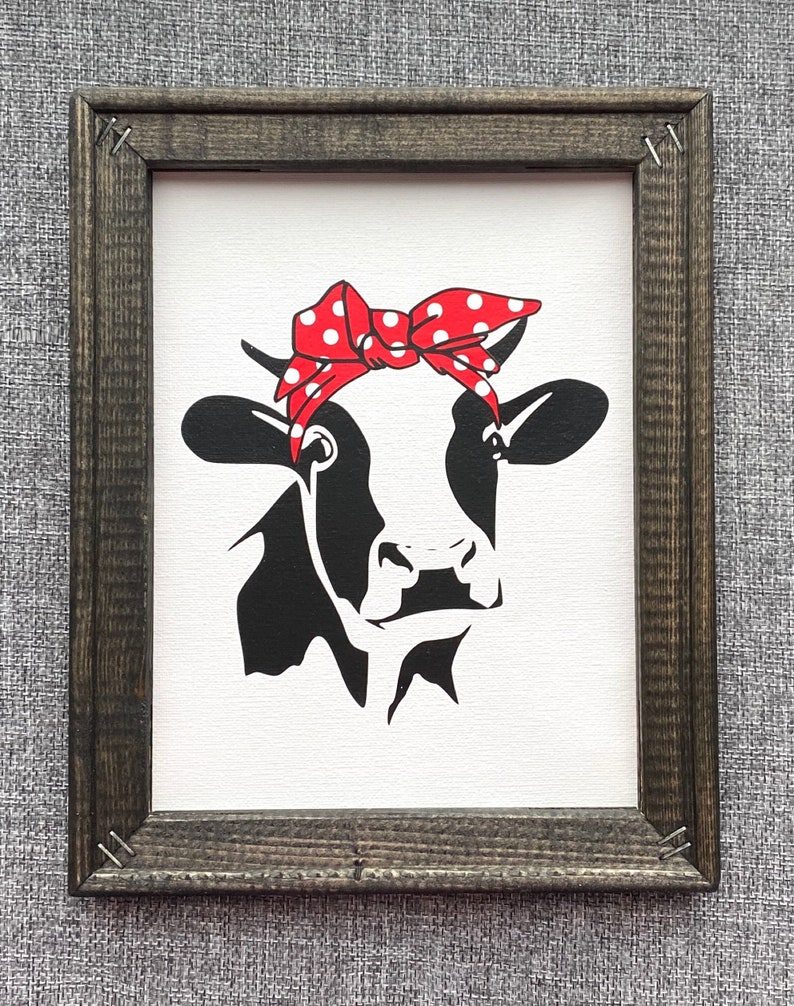 Farmhouse Cow Decor Cow With Scarf Cute Cow Kitchen Etsy