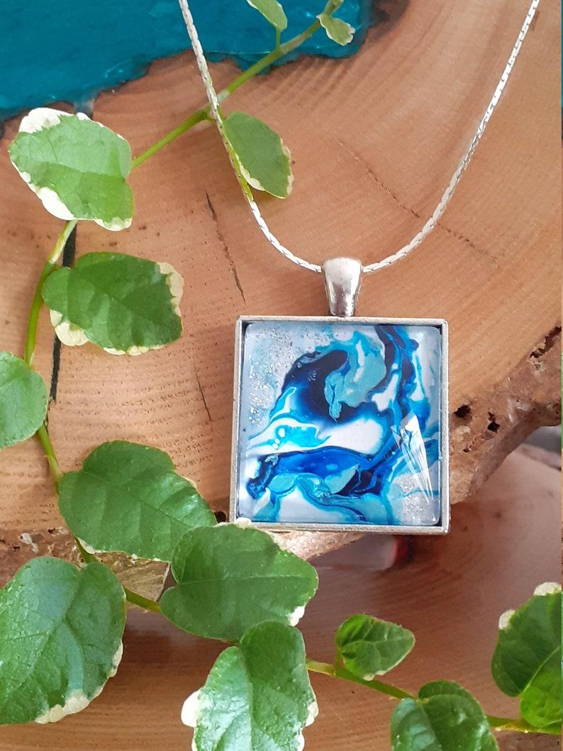 blue square cabochon necklace