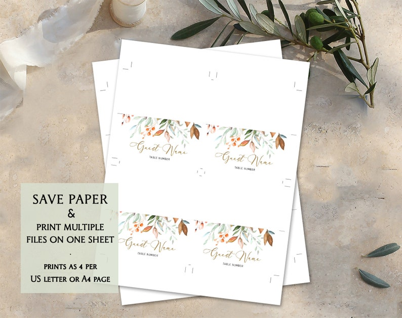 Printable Wedding Place Card Editable Place Cards Template Watercolor Greenery Reception Cards Escort Name Cards Wedding Tent Cards DIYFLL