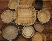 Vintage Boho Basket Grouping Hippy Wall Decor Gatherer, Forager Vintage Decor Wall Basket Collection Wicker, Rattan, Wood, Reed