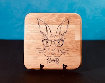 Bunny with bow tie and glasses wall display carved from oak
