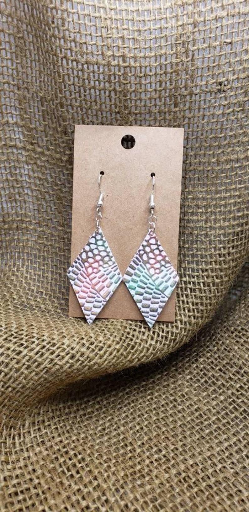 Funky in Color faux leather earrings