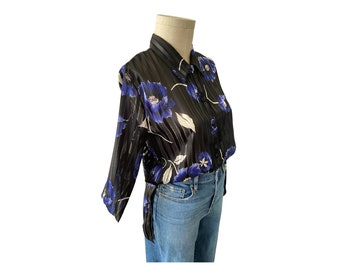Vintage Classic Style 40 Bust 1980s Side Button Blouse REtro Style Size Large Print on Print Ship N Shore Holiday Holiday