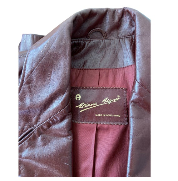 1970s Etienne Aigner Leather Blazer Brown, Size 1… - image 6