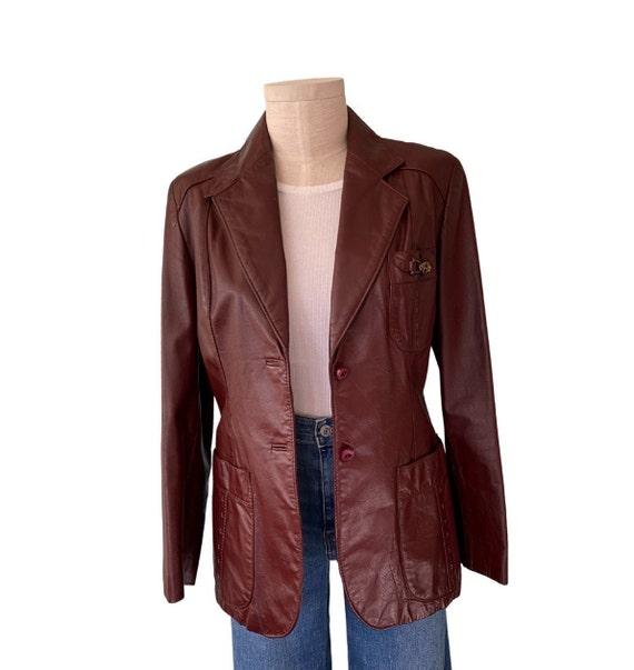 1970s Etienne Aigner Leather Blazer Brown, Size 1… - image 8
