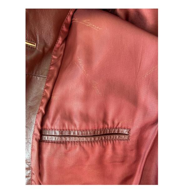 1970s Etienne Aigner Leather Blazer Brown, Size 1… - image 7