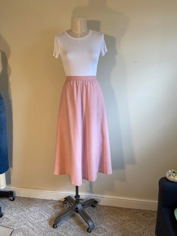 Vintage pink midi 1980s 1970s skirt