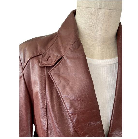 1970s Etienne Aigner Leather Blazer Brown, Size 1… - image 5