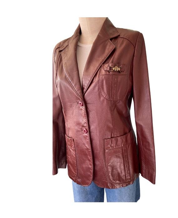 1970s Etienne Aigner Leather Blazer Brown, Size 1… - image 9