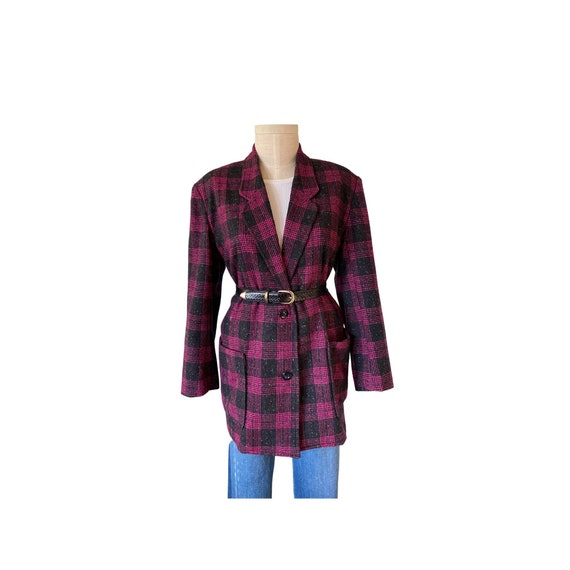 1980s Oversized Hot Pink  IVY Wool Plaid  Blazer S