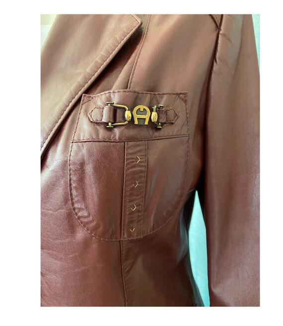 1970s Etienne Aigner Leather Blazer Brown, Size 1… - image 4