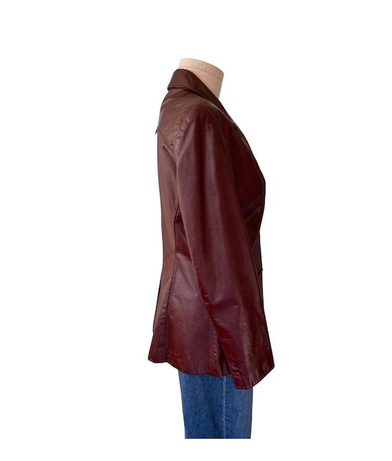 1970s Etienne Aigner Leather Blazer Brown, Size 1… - image 2