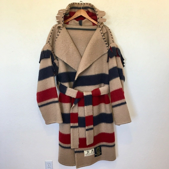 Vintage 80s Five Point Blanket Coat Mens LG Earlys