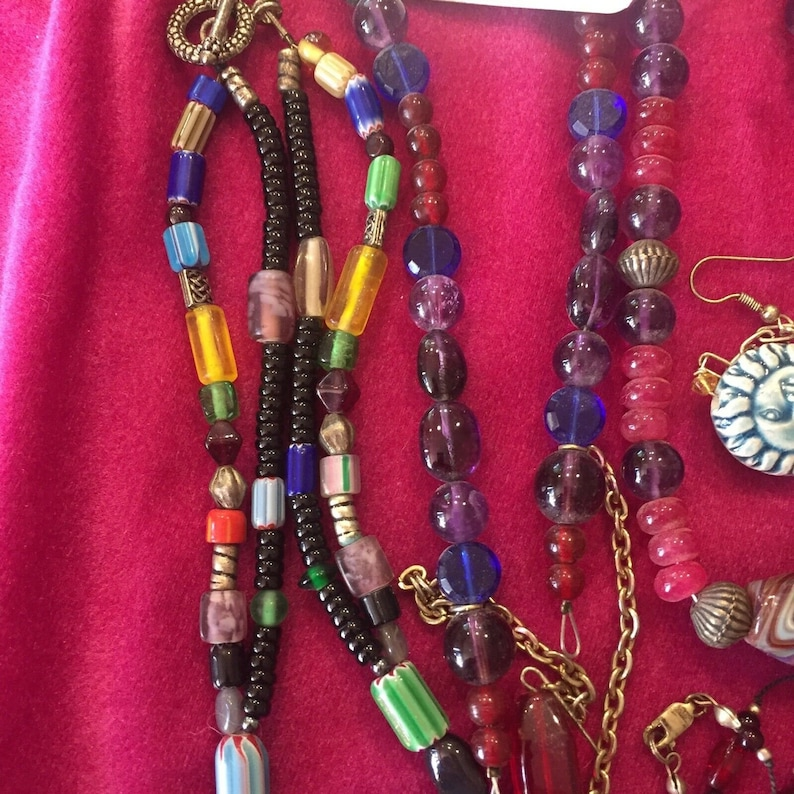 Fused glass Earrings Beads Necklaces Collar tips Pin Bohemian Jewelry Lot