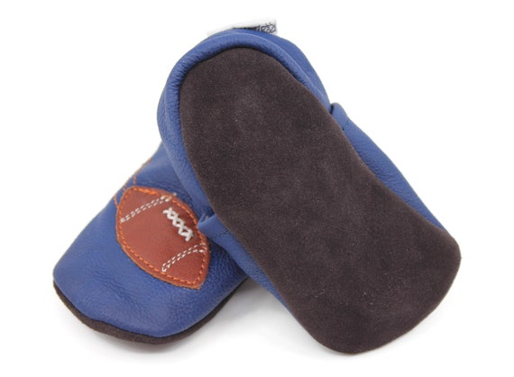 Kidzuu Soft Sole Baby Infant Leather Crib Shoes Brown Footballs