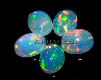 Marvelous Rainbow Fire Opal Cabochon Gemstone 1.80 Carat Oval Shape White Opal Cabochon Jewelry Gemstone 10x8x5 MM Sku= B125