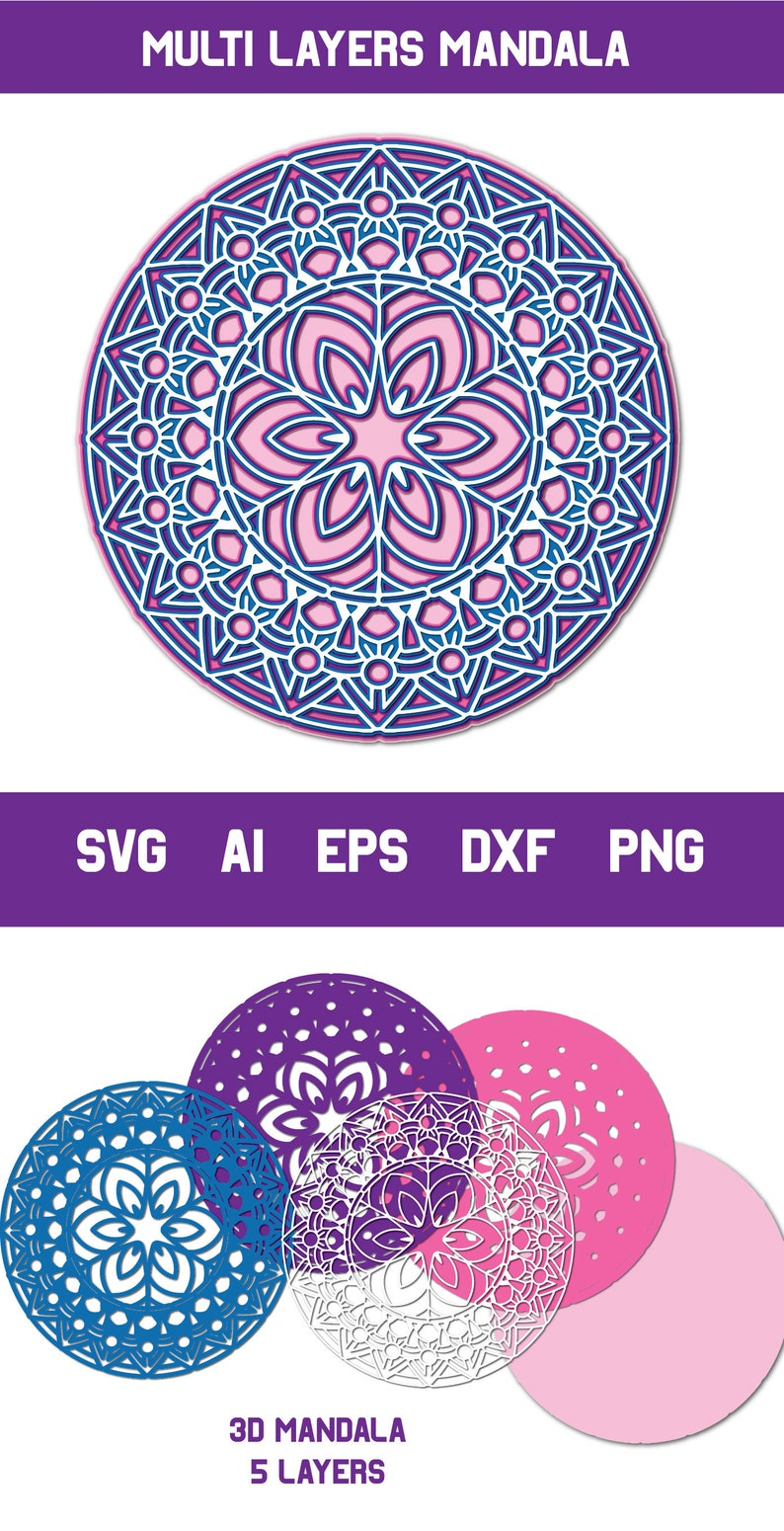 Download Multi Layer SVG 3d Layered Mandala svg Cut File Personal ...