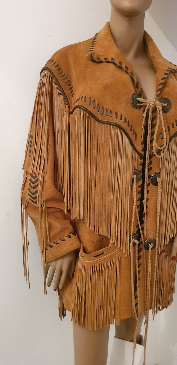 Leather jacket with bangs / fringed leather jacket