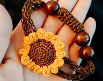 Bracelet Sunflower Sunflower Bracelet Hippie Boho Style Jewelry Nature Handmade Crocheted