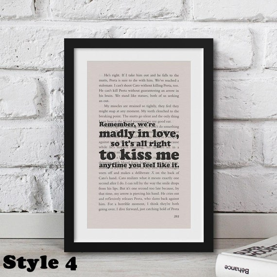 Gift for Writers Hunger Games Quote Printed Real Book Page Wall Art For Bookworms Anniversary t Wife girlfriend Valentines t