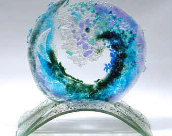 12 Inch Spiral Glass Wave with Stand